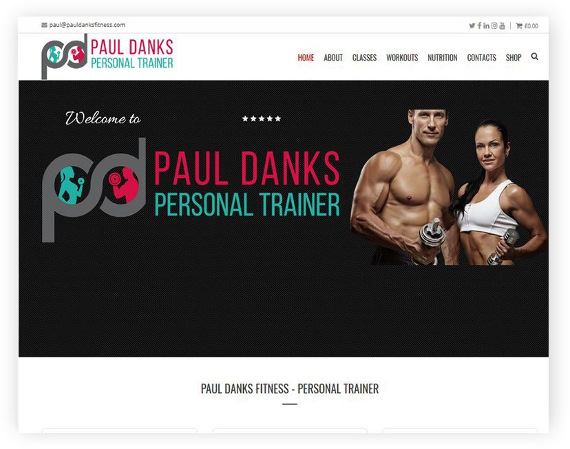 paul danks fitness wordpress website by rrwebdesign