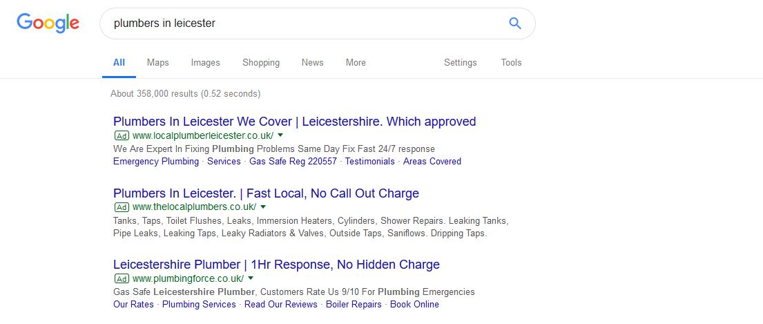 google basic paid PPC results